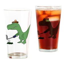T-Rex Dinosaur Golfer Drinking Glass