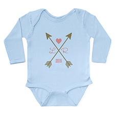 Personalized Pink Hear Long Sleeve Infant Bodysuit