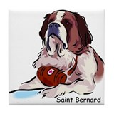 St. Bernard with Keg Tile Coaster