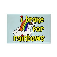 I Brake For Rainbows Rectangle Magnet (100 pack)