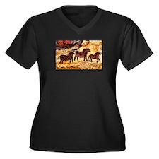 LASCAUX HORSES Women's Plus Size V-Neck Dark T-Shi