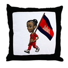 Cambodia Girl Throw Pillow