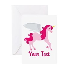 Cute Pink Flying Unicorn Greeting Cards
