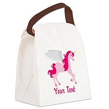 Cute Pink Flying Unicorn Canvas Lunch Bag