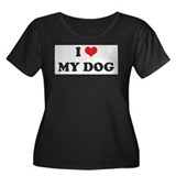 I Heart MY DOG Women's Plus Size Scoop Neck Dark T