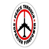 Peace Through Superior Firepower II Oval Decal