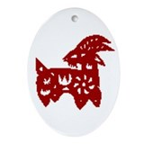 Oval Ornament Red Chinese Papercut Goat