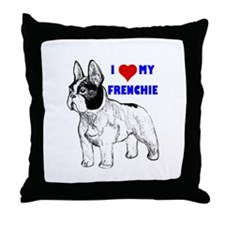 Funny French bulldog terrier Throw Pillow