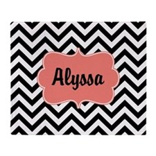 Black Coral Chevron Personalized Throw Blanket