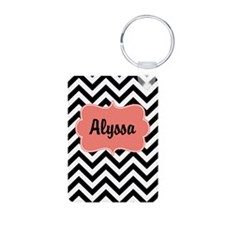 Black Coral Chevron Personalized Keychains