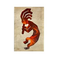 Fire Red Kokopelli Rectangle Magnet