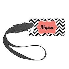 Black Coral Chevron Personalized Small Luggage Tag