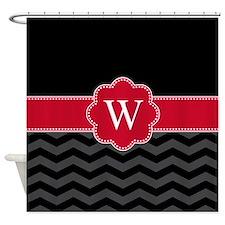 Monogram Black/Red Chevron Block Shower Curtain