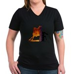 Turn 'n Burn Women's V-Neck Dark T-Shirt