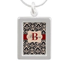 Beige Red Damask Personalized Necklaces