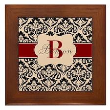 Beige Red Damask Personalized Framed Tile