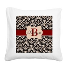 Beige Red Damask Personalized Square Canvas Pillow