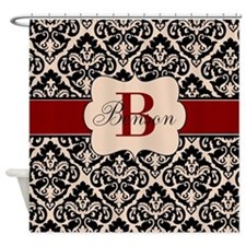 Beige Red Damask Personalized Shower Curtain