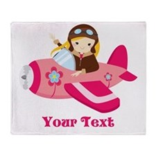 Pink Airplane, Girl Pilot with flowers Throw Blank