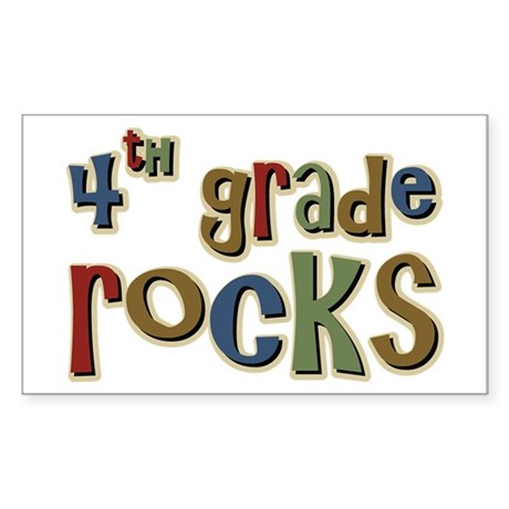 4th Grade Rocks Fourth School Sticker (Rectangular