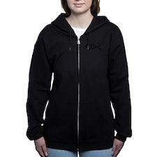 Scuba Fish Blk Women's Zip Hoodie