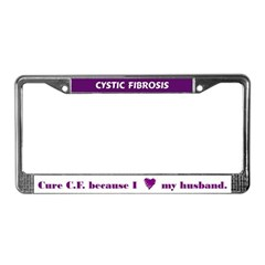 Cure CF because I heart my husband License Frame
