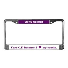 Cure CF because I heart my cousin License Frame