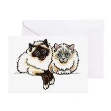2 Birmans Greeting Cards