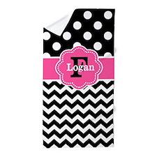 Black Pink Dots Chevron Personalized Beach Towel