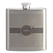 Monogram and Name on Gray Quatrefoil Pattern Flask