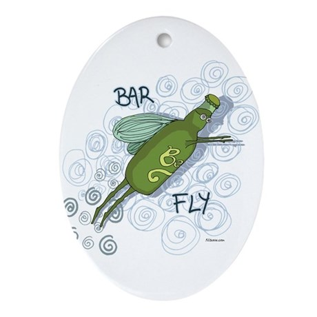 Bar Fly Drinking Oval Ornament