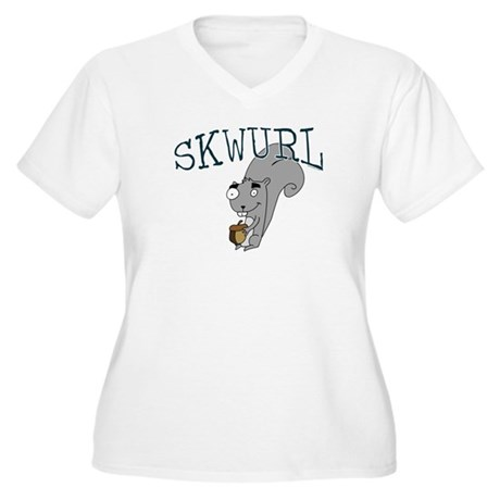 Silly Skwurl (squirrel) Women's Plus Size V-Neck T