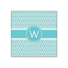 Monogram; Retro Robins Egg Blue Pattern Sticker