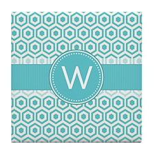 Monogram; Retro Robins Egg Blue Pattern Tile Coast