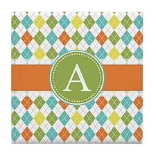 Monogram, Orange, Green, Yellow, Blue Argyle Tile