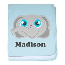 Custom Name Cute Elephant baby blanket