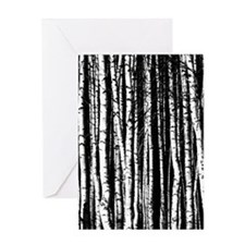 Artistic Birch Trees in black and white Greeting C