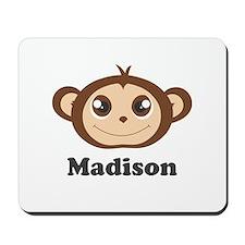 Custom Name Cute Happy Monkey Mousepad