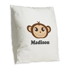 Custom Name Cute Happy Monkey Burlap Throw Pillow