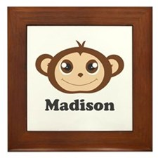 Custom Name Cute Happy Monkey Framed Tile