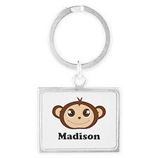Custom Name Cute Happy Monkey Landscape Keychain