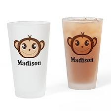 Custom Name Cute Happy Monkey Drinking Glass