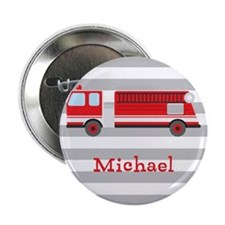"""Personalized Kids Red Fire Truck 2.25"""" Button (10"""