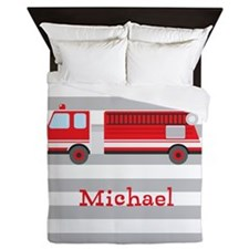 Personalized Kids Red Fire Truck Queen Duvet