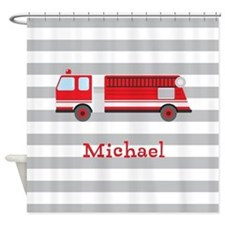 Personalized Kids Red Fire Truck Shower Curtain