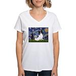 Starry Night Papillon Women's V-Neck T-Shirt