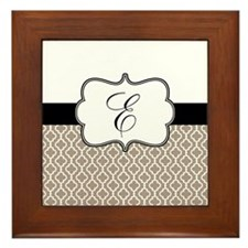 Beige Black Quatrefoil Monogram Framed Tile