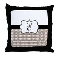 Beige Black Quatrefoil Monogram Throw Pillow