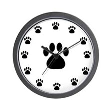 BLACK PAW PRINT Wall Clock