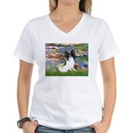Lilies (2) & Papillon Women's V-Neck T-Shirt